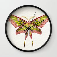 moth Wall Clocks featuring moth by Manoou
