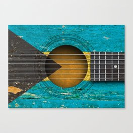 Old Vintage Acoustic Guitar with Bahamas Flag Canvas Print