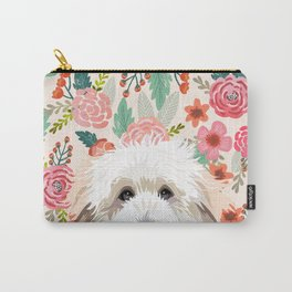 Golden Doodle florals pet portrait art print and dog gifts Carry-All Pouch