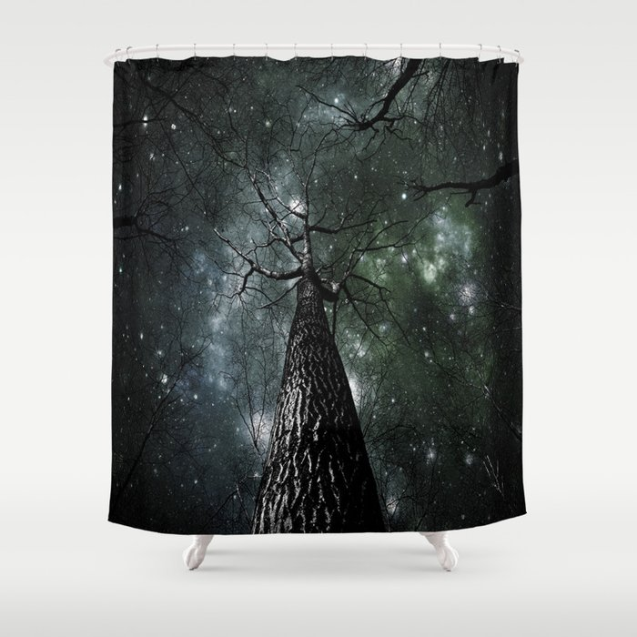 Wintry Trees Galaxy Skies Dark Green Slate Blue Shower Curtain