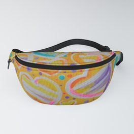 Rainbow Hearts Yellow Strips Pink Purple Aqua Turquoise Dots Jackie Carpenter Gift Gifts Fanny Pack