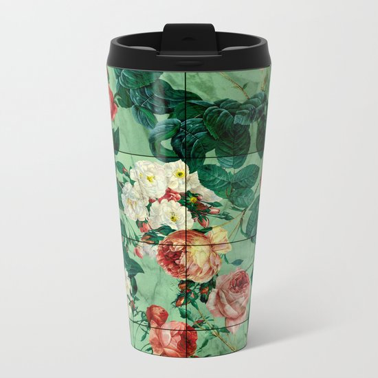 Floral and Marble Texture Metal Travel Mug