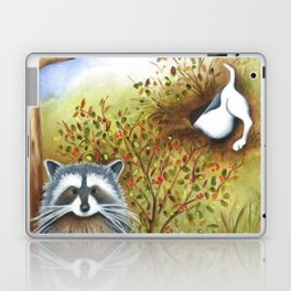 Silly Dog  Jack Russell Terrier, Raccoon, Landscape Painting, Original Art Laptop & iPad Skin