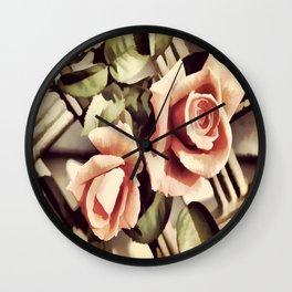 Vintage Rose Garden - Painterly Wall Clock