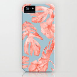 Island Life Coral on Light Blue iPhone Case