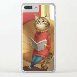 A cat reading a book Clear iPhone Case