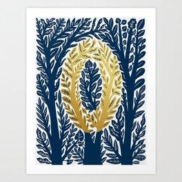 Botanical Metallic Monogram - Letter O Art Print