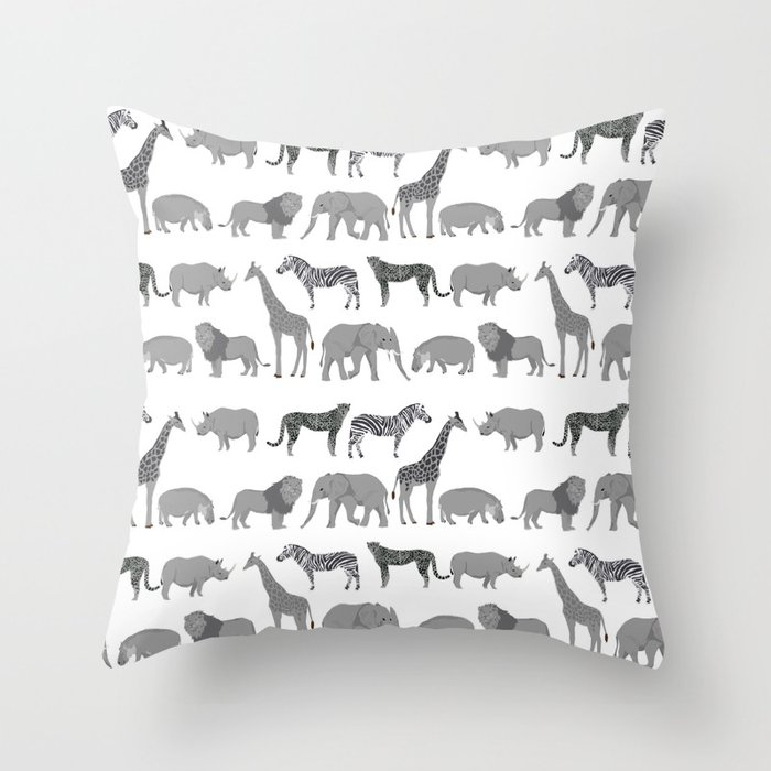 Safari Animals Minimal Grey And White Zebra Giraffe Cheetah Hippo Rhino Nursery Throw Pillow By Charlottewinter Society6