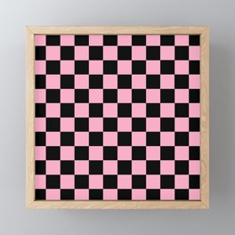 Checkered Pink and Black Framed Mini Art Print