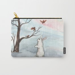 Rabbit in the Winter Snow Carry-All Pouch