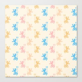 Vintage chic pink blue yellow lions damask pattern Canvas Print