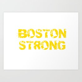 Support BOSTON STRONG Yellow Grunge Art Print