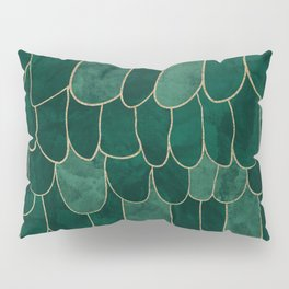 Stratosphere Emerald // Abstract Green Flowing Gradient Gold Foil Cloud Lining Water Color Decor Pillow Sham