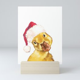 Christmas yellow duckling Mini Art Print