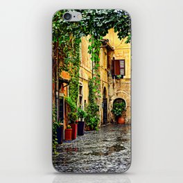 Vintage street in Rome, after Rain iPhone Skin