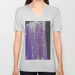 Modern abstract black violet white paint splatters pattern Unisex V-Neck