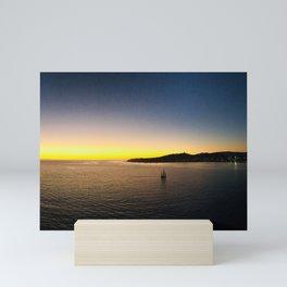 Panoramic Sailboat Sunset in the Ocean Harbor Mini Art Print
