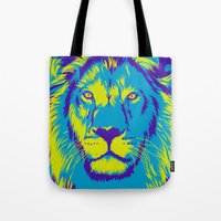 the lion king Tote Bags featuring KING LION by free_agent08