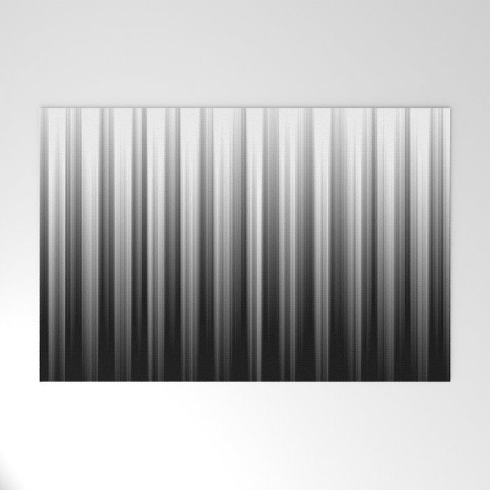 Black And White Soft Blurred Vertical Lines - Ombre Abstract Blurred Design Welcome Mat
