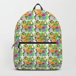 Kids Cartoon Animals Cute Safari Jungle Colorful Pattern Backpack