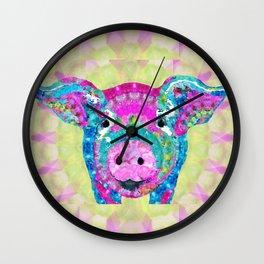 Fun Mandala Pig Art - Oinkdala - Sharon Cummings Wall Clock