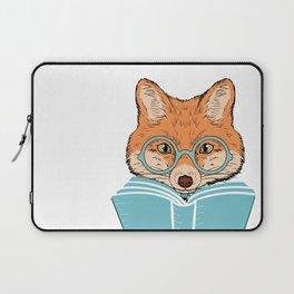 Reading Fox - White Background Laptop Sleeve