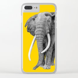 Bull elephant - Drawing In Pencil On Vintage Yellow Clear iPhone Case