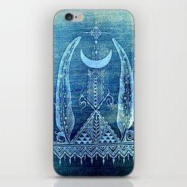feathers in indigo crescent moon iPhone Skin
