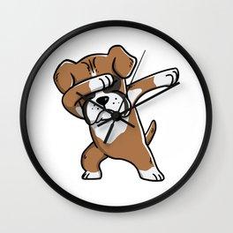 Funny Boxer Dog Dabbing Wall Clock