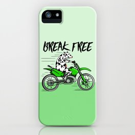 Cow riding a motorbike iPhone Case