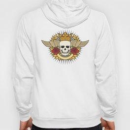 skull symbol tattoo design (crown, laurel wreath, wings, roses and banner) Hoody