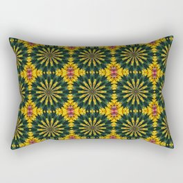 Green and Yellow Rich Colored Floral Tiled Pattern Rectangular Pillow