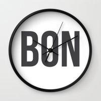 bon iver Wall Clocks featuring Bon - Bon Jour by Katy Martin