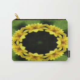 Large Yellow Wildflower Kaleidoscope Art 3 Carry-All Pouch