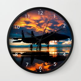 Fighter Jet Airplane at Sunset Military Gifts Wall Clock