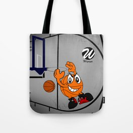 Basketball Cartoon Character Performing a Flying Pass Tote Bag