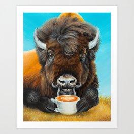Bison Latte Art Print
