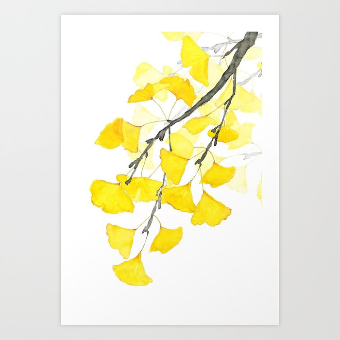 Golden Ginkgo Leaves Art Print by colorandcolor | Society6