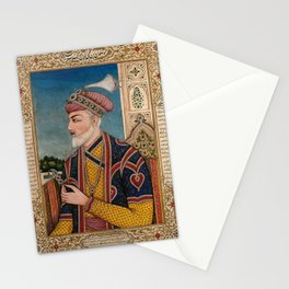 A Mughal emperor or member of a royal family holding a turban ornament in profile. Gouache painting Stationery Cards