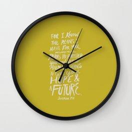 Jeremiah 29: 11 x Mustard Wall Clock