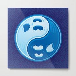 Ghost Yin Yang Symbol Metal Print