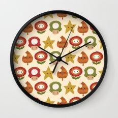 mario items pattern Wall Clock