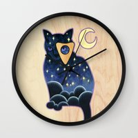 ouija Wall Clocks featuring Ouija Cat by Kiki Stardust