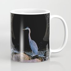 Blue Heron At Mini Waterfall I Coffee Mug