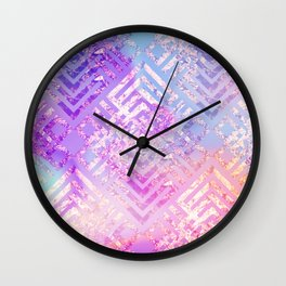 Holographic Glam - Geometric Pattern on Holo Effect Background Wall Clock
