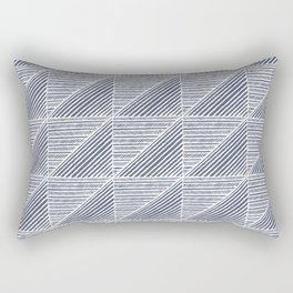 Modern Line Art Pattern in Dark Slate Blue and White Rectangular Pillow