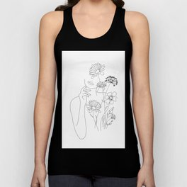 Minimal Line Art Woman with Flowers III Unisex Tank Top