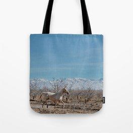white horse Bolivia Tote Bag