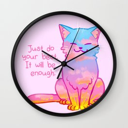 """""""Your Best is Enough"""" Sunset Cat Wall Clock"""