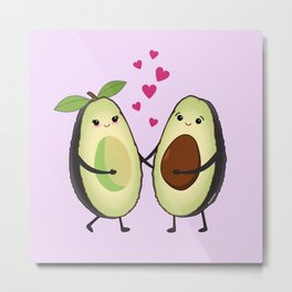 Cute avocados in love Metal Print